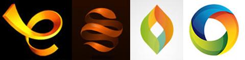 logo 3D dan efek gradien