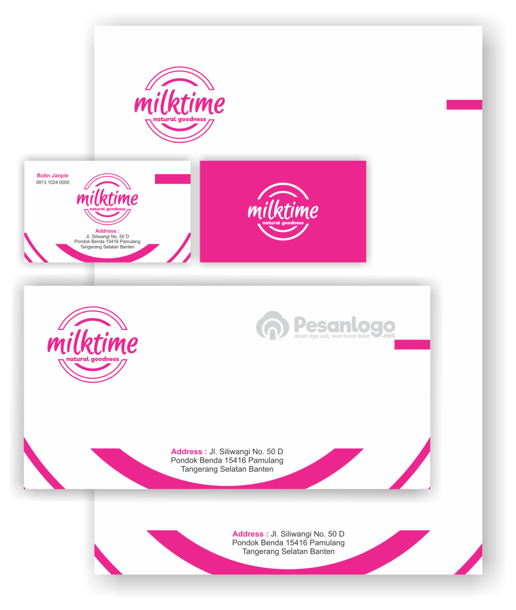 desain kartu nama dan kop surat milktime
