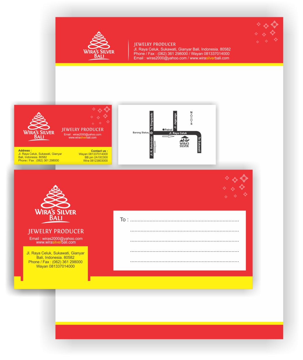 desain kartu nama dan kop surat wiras silver